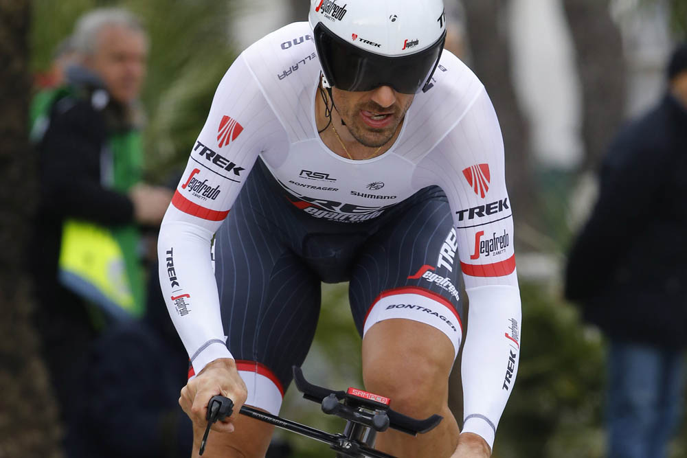 Fabian Cancellara in action during the Stage 7 time tirial of the 2016 Tirreno-Adriatico
