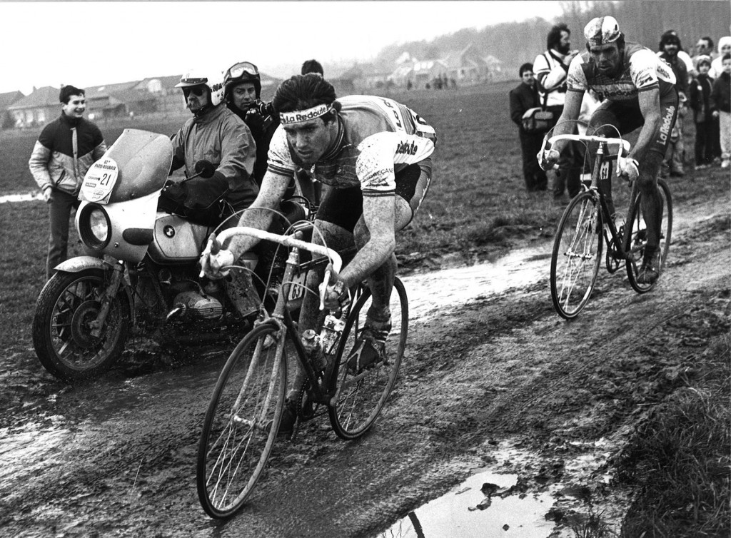 Alain Bondue of France and Gregor Braun of Germany put in a huge effort in the mud during the 1984 Paris-Roubaix. Neither Bondeue or Braun would be victorious this day, with Sean Kelly confirming that he was in fact the king of the classics. Kelly sprinted to win his first Paris-Roubaix in the Roubaix velodrome against Rudy Rogiers.